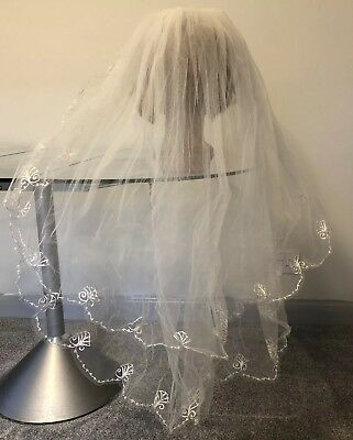 1960s Vintage Veil Bridal 2 Tier Nylon Tambour  Embroidered Lace Silk Faux Pearl