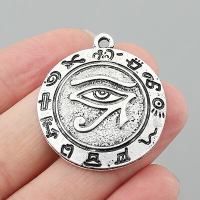 10pcs Tibetan Silver carved Egyptian Eye of Horus Round Charms Pendant Jewelry