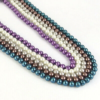 "Multi Color Long Necklace 58"" Czech Glass Pearl Round Spacer Loose Beads 8mm"