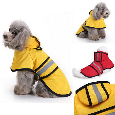 Pet Dog Waterproof Outdoor Raincoat Puppy Reflective Hooded Jacket Coat Clothes