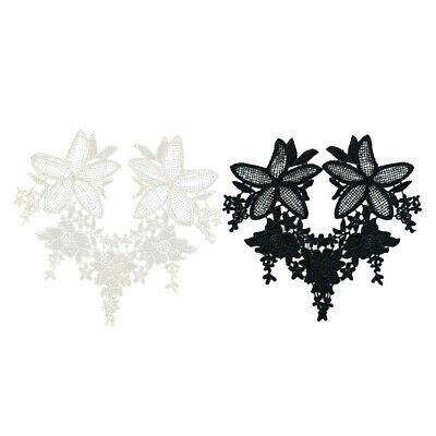 2 Pairs Flower Lace Trim Embroidered Sewing Bridal Dress Applique DIY Craft