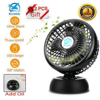 "8"" USB Fan Portable Oscillating Silent Cooling Desk Fan 3 Speed For Laptop PC"