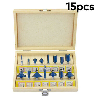 15pcs Set Router Bits 1/4inch Shank Tungsten Carbide Rotary Power Tool Accessory