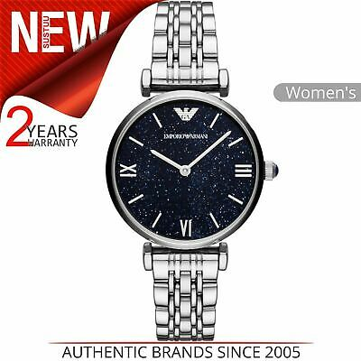Emporio Armani Gianni T-Bar Ladies Watch AR11091¦Blue Dial¦Stainless Steel Strap