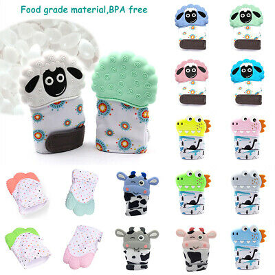 Cute Animal Silicone Baby Teething Mitt Teether Mitten Glove Safe Chew Dummy Toy