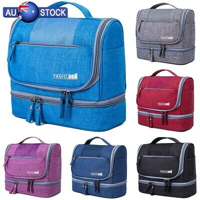 Ladies Mens Wash Bag Zipper Travel Toiletries Makeup Organizer Toilet Hanging AU