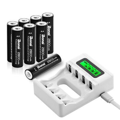 BONAI 4 Bay LCD Smart Individual AA AAA Rechargeable Battery Charger with 8...