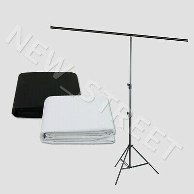 Photo Studio T Type Backdrop Support Stand Black White Non Woven Background Kit
