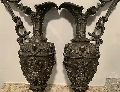 Pair Old 1880's 19th C Antique Victorian Urn Ornate Pot Metal Bronze French Vase