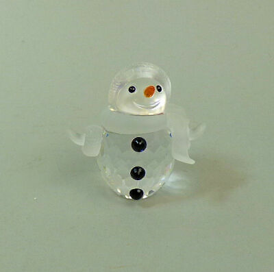 Swarovski Austrian Silver Crystal Figure Of A Snowman With Display Crystals