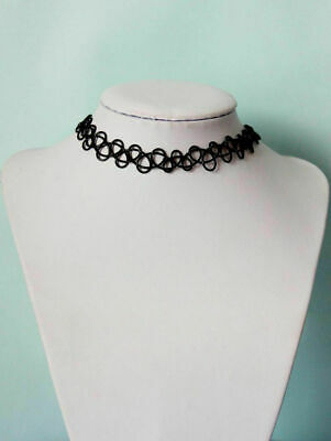 Vintage Retro Hippy Stretch Tattoo Choker Henna Necklace Elastic Chocker 90S