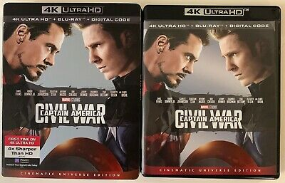 Marvel Captain America Civil War 4K Ultra Hd Blu Ray 2 Disc + Slipcover Sleeve