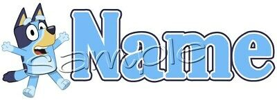 IRON ON TRANSFER PERSONALISED with any name BLUEY BLUE HEELER 18X6CM