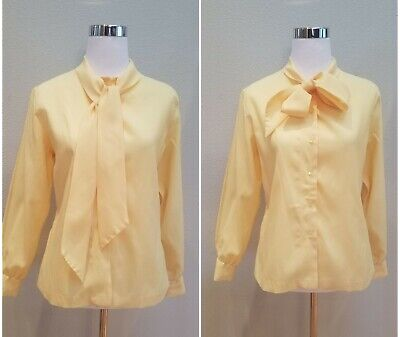 418def30bcaa VTG 70s Pussy Bow Scarf Neck Tie Blouse Pale Yellow Mad Men Button Up Top M