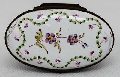 Antique 18th Century Bilston Battersea Enamel Pill or Patch Box ~ Georgian 1790