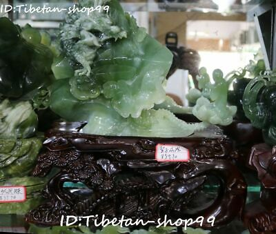 "14"" Grade A Natural Green Jade Dragon Mountain Monk Buddha Lotus Ruyi Statue"
