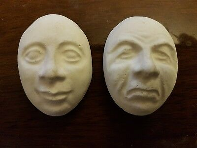 2 small pulling faces rubber latex mould mold plaster concrete wall plaques new