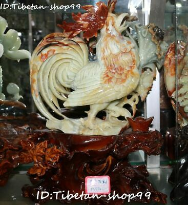 """15"""" Top Natural Jade Zodiac Rooster Cock Chick Chicken Cockscomb Flower Statue"""