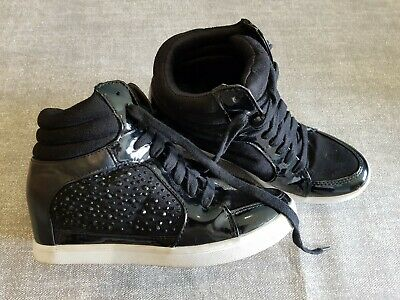 brand new d3586 aec98 Fiore size 4 (37) black faux suede lace up diamante wedge heel high top