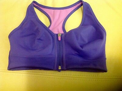 M&S  Extra High Impact With Zip Front Fastening Sports Bra Size : 36B Non Wired