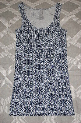 Womens Ribbed Tank Top BLUE MANDALA FLOWER PRINT White Background SIZE XS 0-2