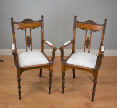 Pair Superb quality Victorian Inlaid Mahogany Chairs