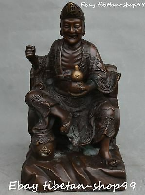 "12""China Pure Bronze Folk Jigong Mad Monk Living Buddha Gourd Cucurbit Wine Jars"