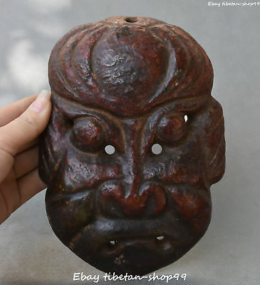 "8"" Chinese Hongshan Culture Old Jade Stone Ancient People Vizard Mask Statue"