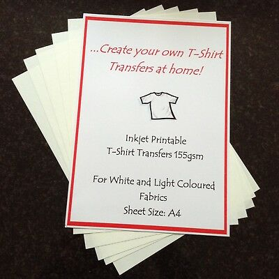 A4 IRON-ON T'SHIRT TRANSFER PAPER LIGHT FABRIC INKJET PRINTABLE x5 SHEETS