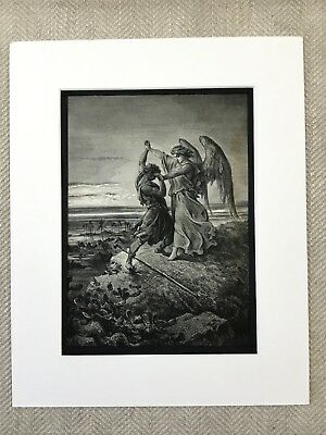Jacob Wrestling the Angel Bible Story Victorian Art Engraving Antique Print