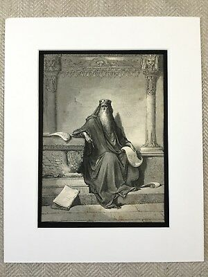 King Solomon The Wise Bible Story Victorian Engraving Antique Print