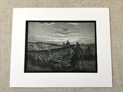 Abraham Travels to the Land of Canaan Victorian Engraving Antique Print