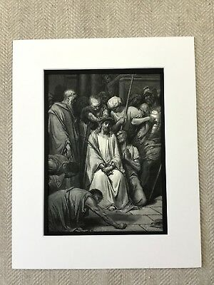Jesus Christ Crown of Thornns Bible Story Victorian Engraving Antique Print