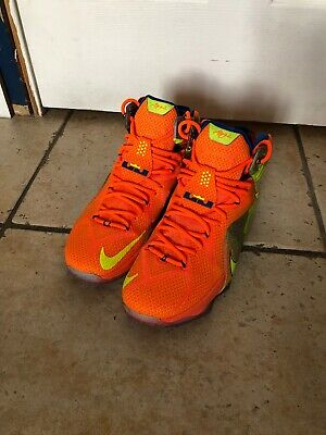 44a8091607d2 Nike Lebron XII LBJ 12 SIX MERIDIANS Orange Basketball Shoes 684593 870 SZ  12