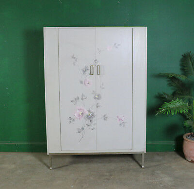 Mid Century G Plan Decorated Wardrobe, Large, Double, Grey, Floral, Lesley Dandy