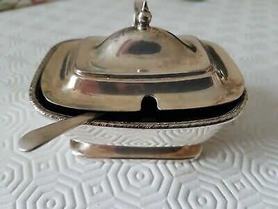 Antique Silver Plated Mustard Pot And Spoon