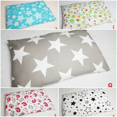 PILLOW CASE 100 % COTTON COVER 40x60 cm for COT JUNIOR BED PATTERN STARS FLOWERS