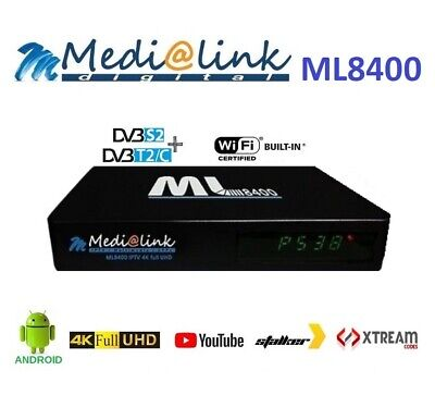 Decoder Android Medialink ML8400 4K H.265 Combo Android S2+T2/C Android IPTV
