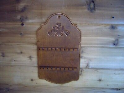 Wooden Spoon Rack Display Carved 16 collector spoons Wall mount