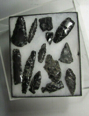 Fine Rare Cache of Pre Columbian Mexico Obsidian Points and Blades ca. 1000 AD