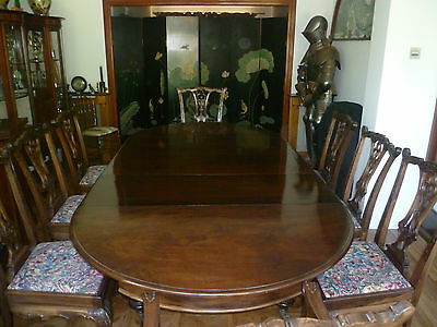 Regency Fine Dining Table & 8 Most Unusual Unique Chairs Queen Anne Superb Set