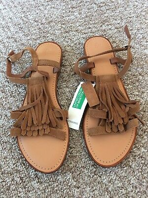 United colors of Benetton Women's Brown suede sandals at size UK7 EU40.NEW