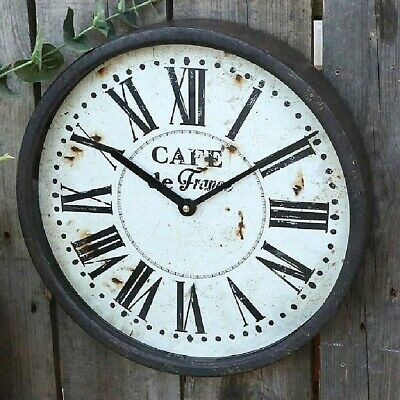 French Vintage Style Wall Clock - Antique Black, 35cm