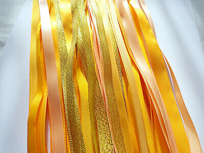 10 meters SHADES OF YELLOW GOLD PEACH SPARKLY SATIN & METALLIC RIBBON  5 x 2mtr