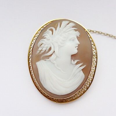 Antique Gold Cameo Brooch - Shell Cameo Late Victorian 9ct Filigree Frame C.1890