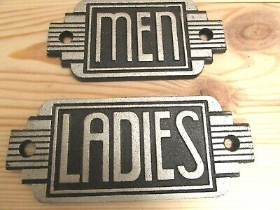 Cast Iron Art Deco Toilet Sign Large Stylish Replica Ladies and Men Door Sign