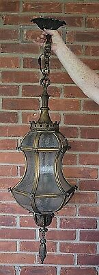 """Antique Hanging Pendant Light From Chicago Hotel 46"""" ornate!  I  WILL SHIP"""