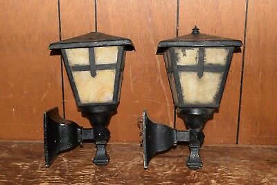 Antique ARTS CRAFTS Iron Metal Slag Glass Wall Mount Porch Lights Matching Pair
