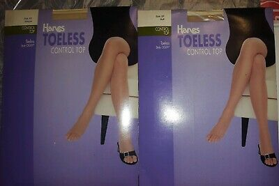 2 Hanes Toeless Control Top Pantyhose Size EF Style OG097 1BISQUE 1BUFF COLOR NW