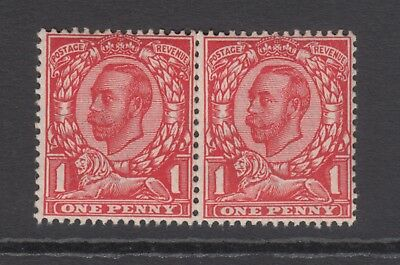 Pair of GB KGV 1d Scarlet SG342 George V Mint Never Hinged Downey Stamps